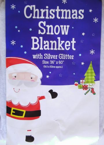 GLITTER Snow Blanket 152 x 92cm Christmas Decoration Table Tree